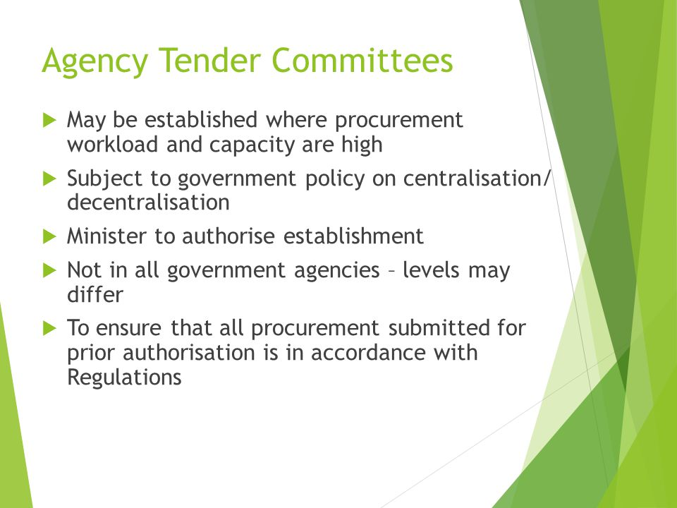 Agency Tender Committees