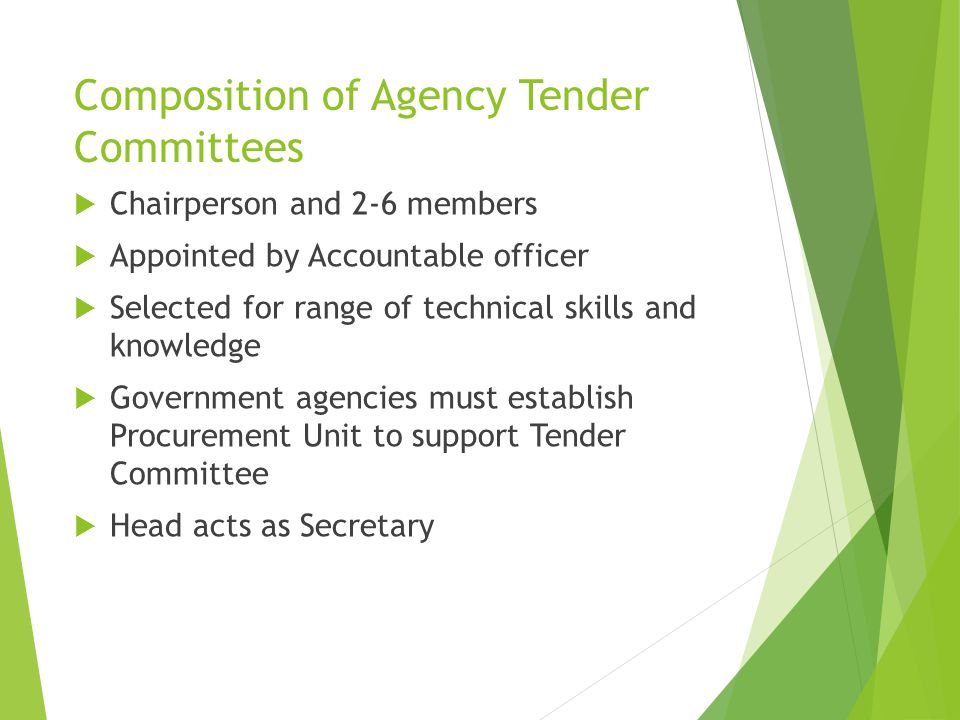 Composition of Agency Tender Committees