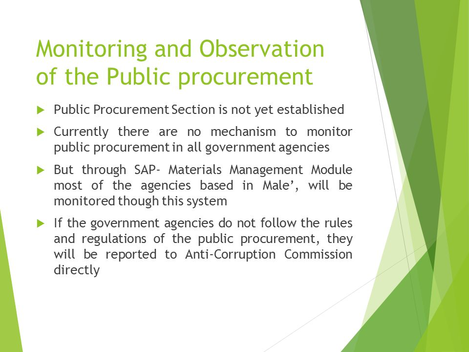 Monitoring and Observation of the Public procurement