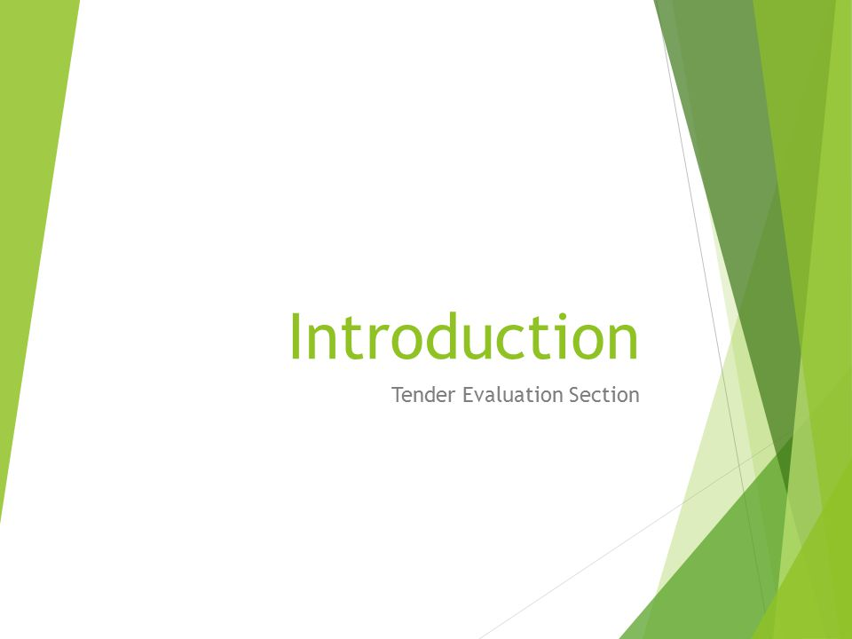 Tender Evaluation Section
