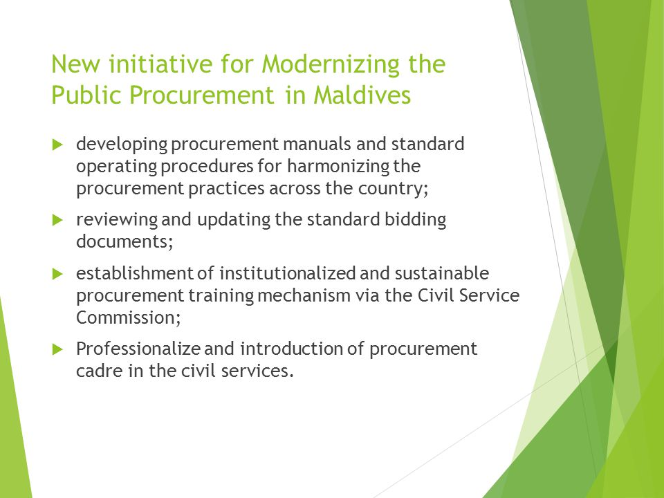 New initiative for Modernizing the Public Procurement in Maldives