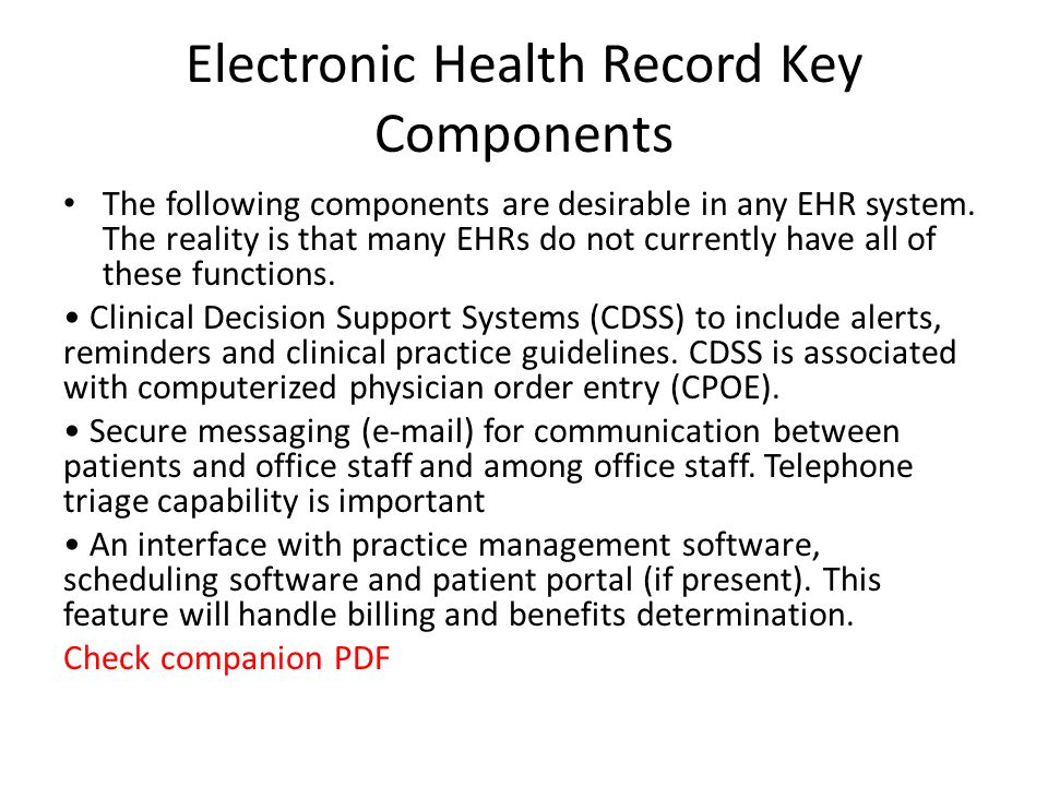 Electronic Health Record Key Components