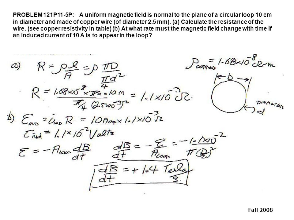 PROBLEM 121P11-5P: A uniform magnetic field is normal to the plane of a circular loop 10 cm in diameter and made of copper wire (of diameter 2.5 mm).