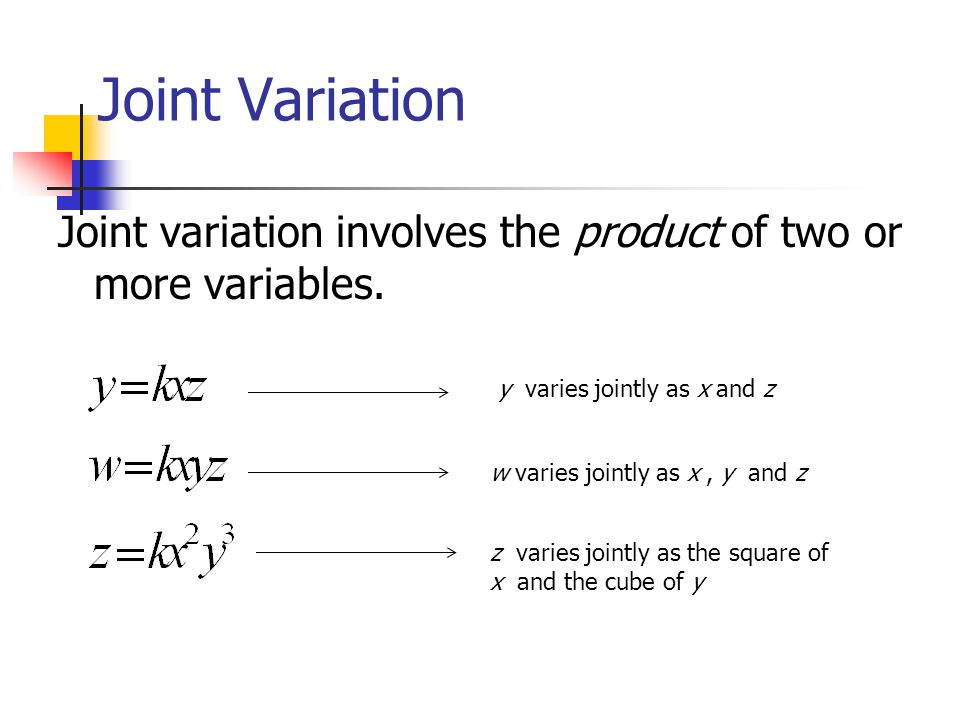 Variation Variation describes the relationship between two ...