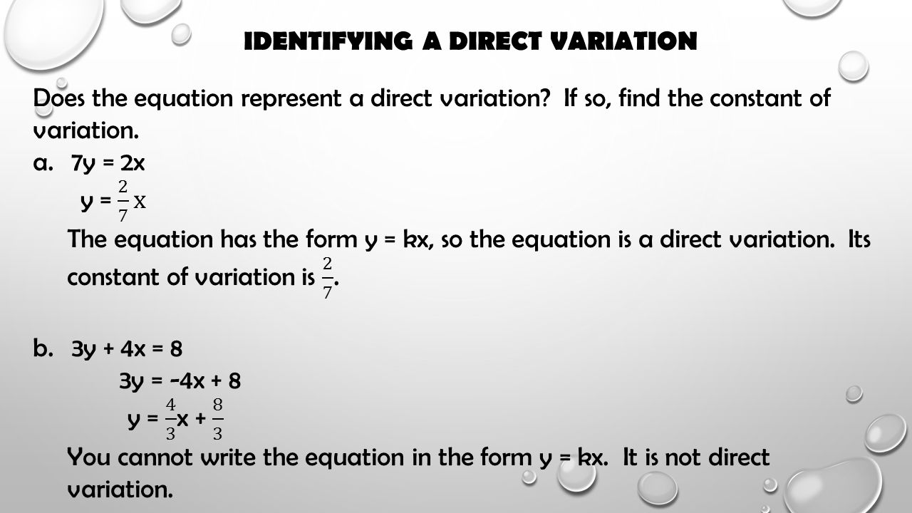 Identifying A Direct Variation