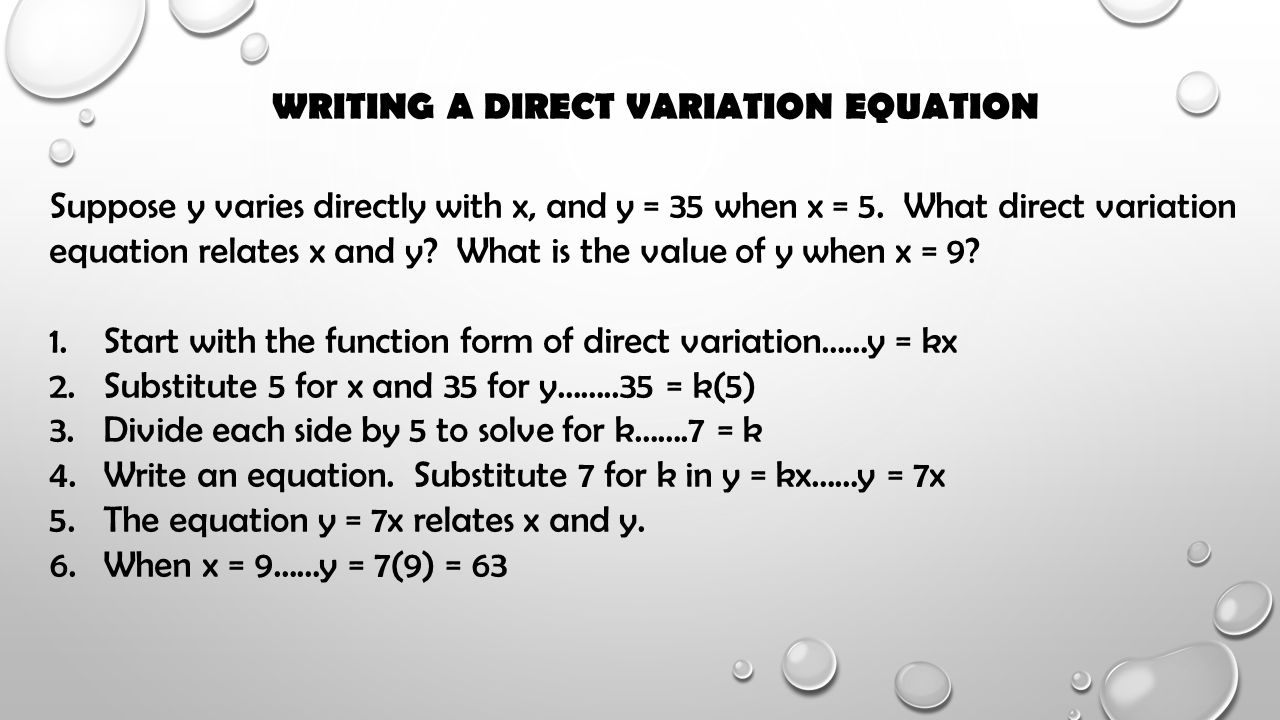Writing A Direct Variation Equation After Finding Slope