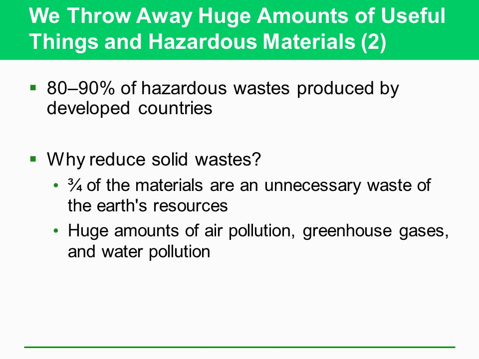 Solid and hazardous waste ppt download for Waste things useful material
