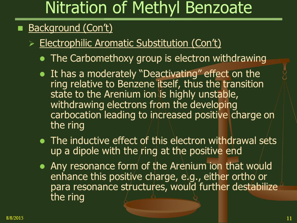 nitration of methylbenzoate Introduction the purpose of this experiment is to synthesize methyl nitrobenzoate from methyl benzoate, concentrated hno3, and concentrated h2so4 via an electrophilic aromatic substitution reaction.