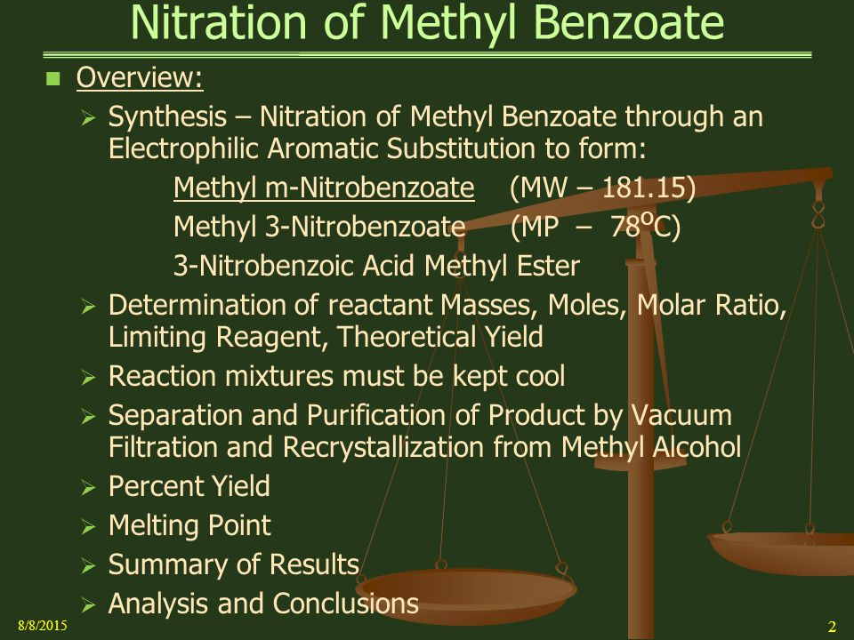 preparation of methyl m nitrobenzoate Consider the nitration by electrophilic aromatic substitution of methyl benzoate to methyl m-nitrobenzoate a reaction was performed in which 265 ml of methyl benzoate was reacted with a mixture of concentrated nitric and sulfuric acids to make 319 g of methyl m-nitrobenzoate.