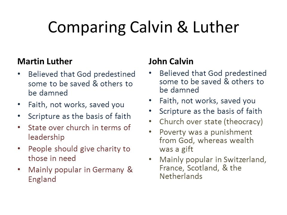 a comparison and contrast of martin luther and john calvin Was aquinas a calvinist well sort of i realize the question is anachronistic, but aquinas retained the doctrines of grace propogated by augustine that the calvinist tradition borrowed from during the protestant reformation (eg the doctrine of unconditional election, predestination, infallible grace, etc.