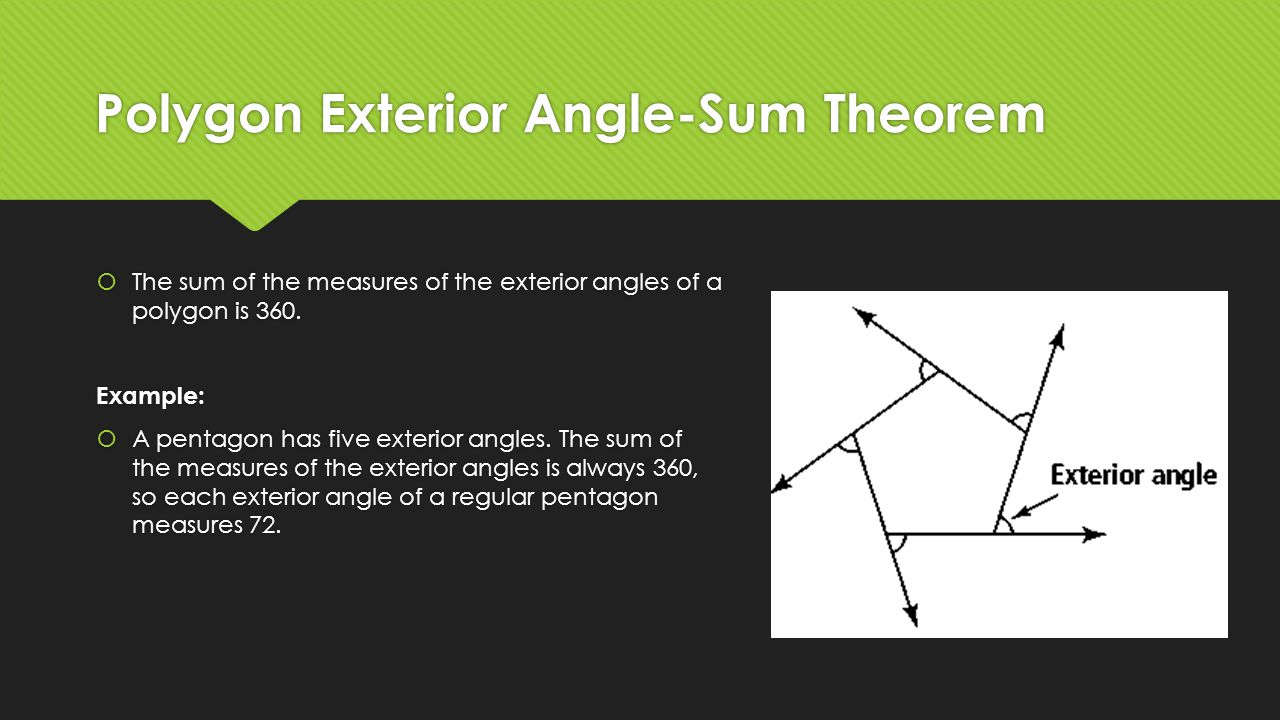 Unit 7 quadrilaterals geometry ppt video online download - Sum of the exterior angles of a polygon ...