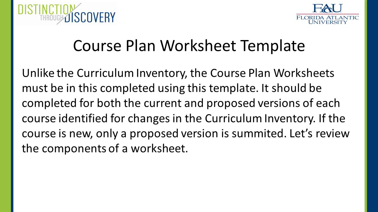 course plan worksheet without narration or animation ppt video online download. Black Bedroom Furniture Sets. Home Design Ideas