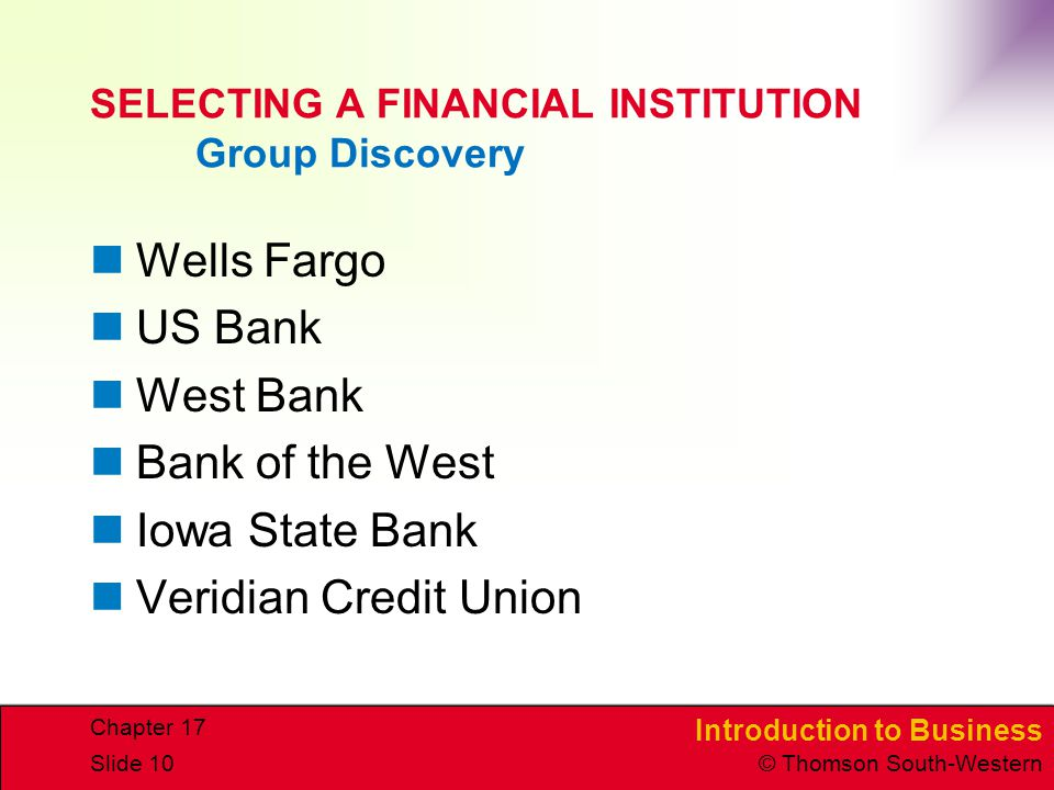 SELECTING A FINANCIAL INSTITUTION Group Discovery
