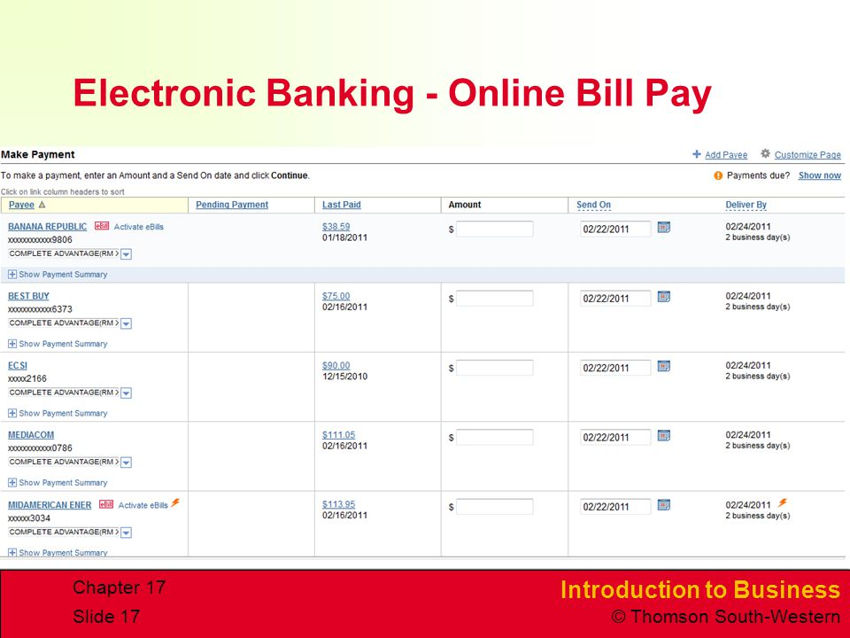Electronic Banking - Online Bill Pay