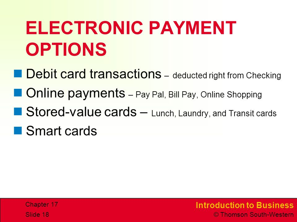 ELECTRONIC PAYMENT OPTIONS