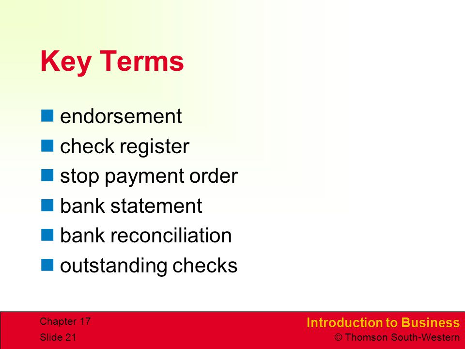 Key Terms endorsement check register stop payment order bank statement
