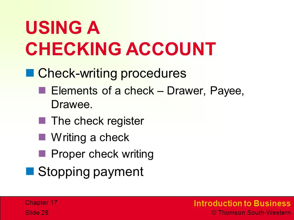 USING A CHECKING ACCOUNT