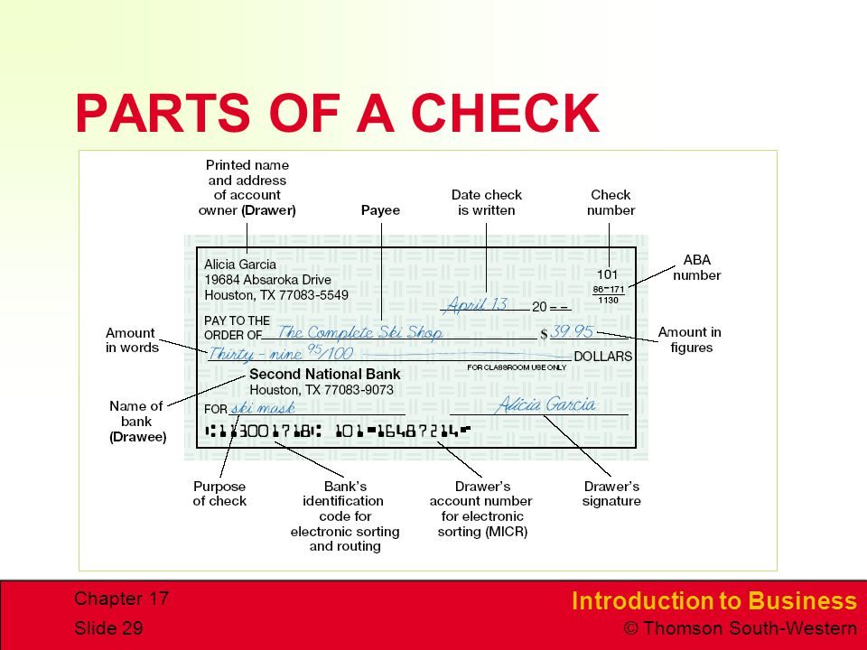 PARTS+OF+A+CHECK+Chapter+17 banking and financial services ppt download