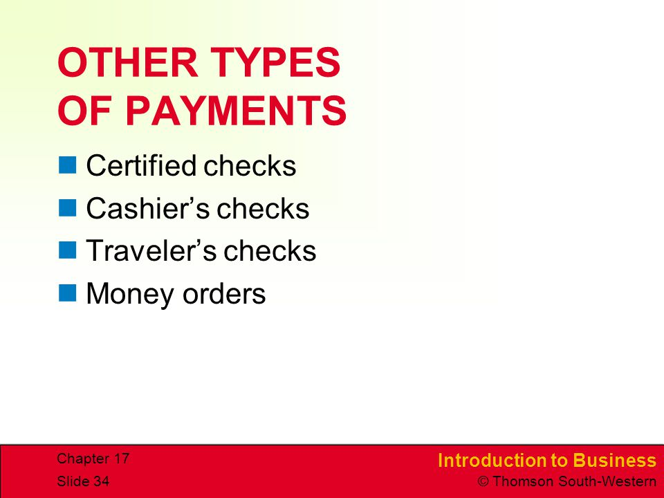 OTHER TYPES OF PAYMENTS