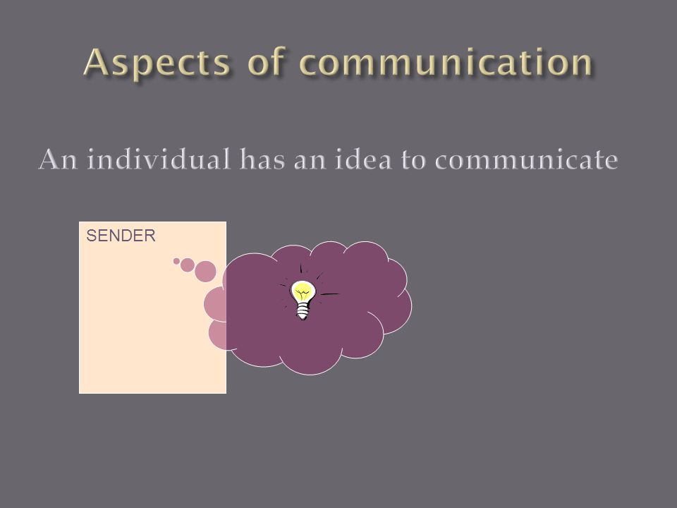 An individual has an idea to communicate