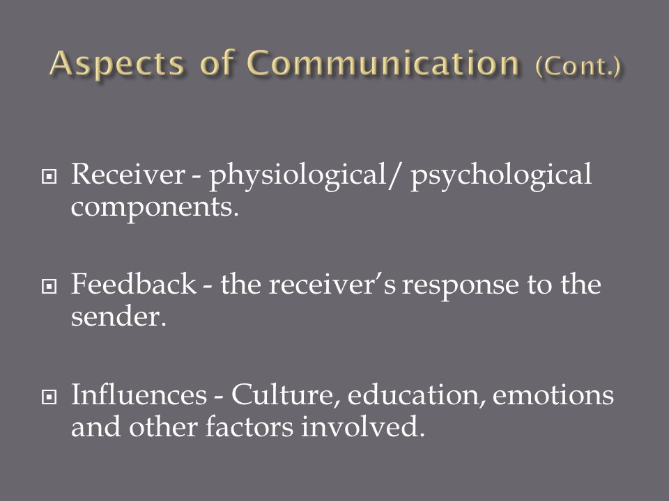 Aspects of Communication (Cont.)