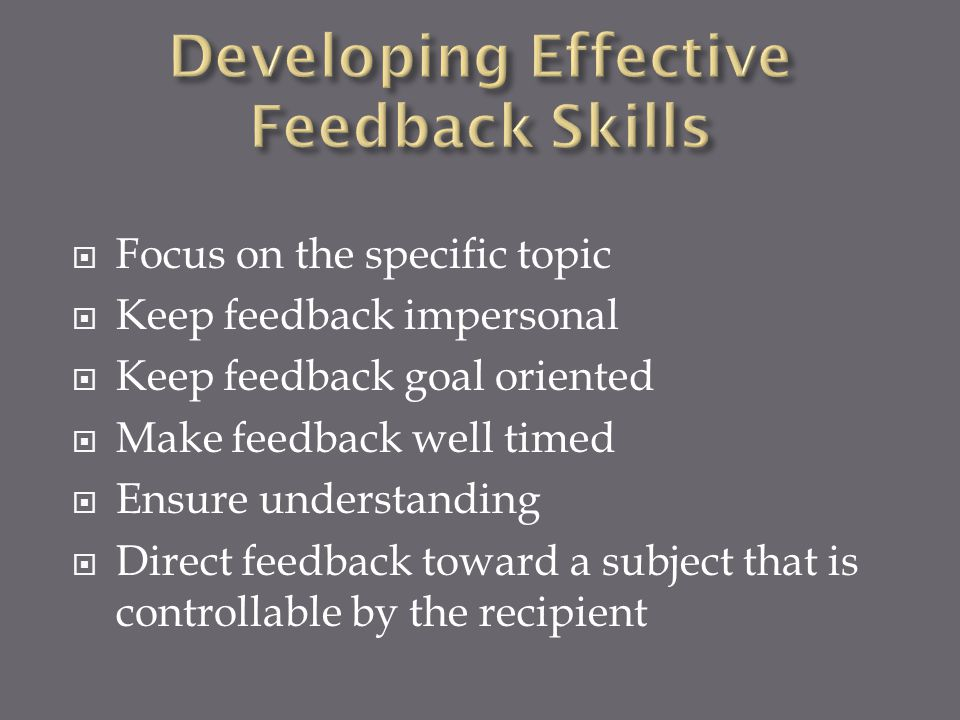 Developing Effective Feedback Skills