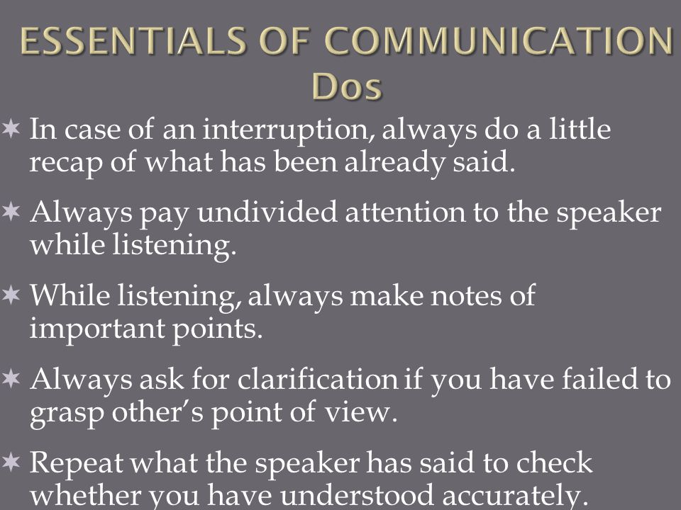 ESSENTIALS OF COMMUNICATION Dos