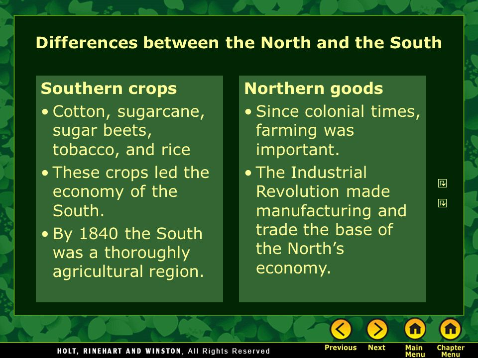 colonial differences from north to south A lot has been written about the exact cause of the american civil war and the differences that existed between the north and the south prior to, during and after the war the general consensus is that slavery was responsible for the war, where the north fought to end the practice while the south fought to maintain it because it benefited.