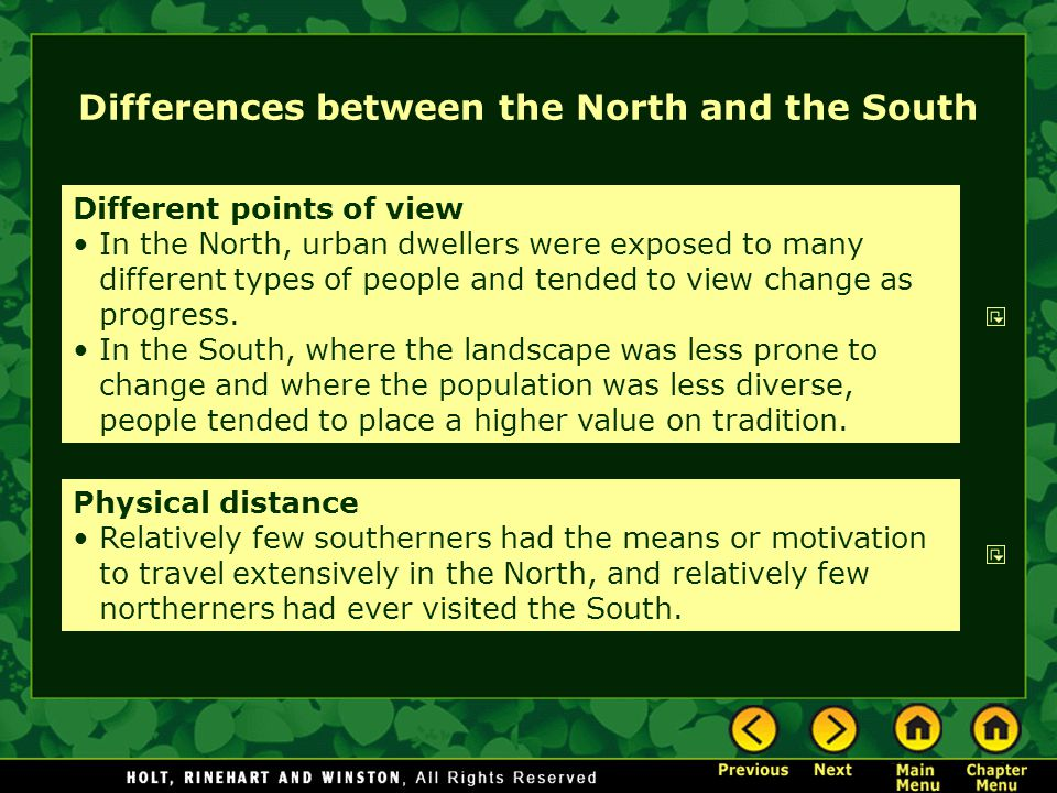 Differences between north and south essay