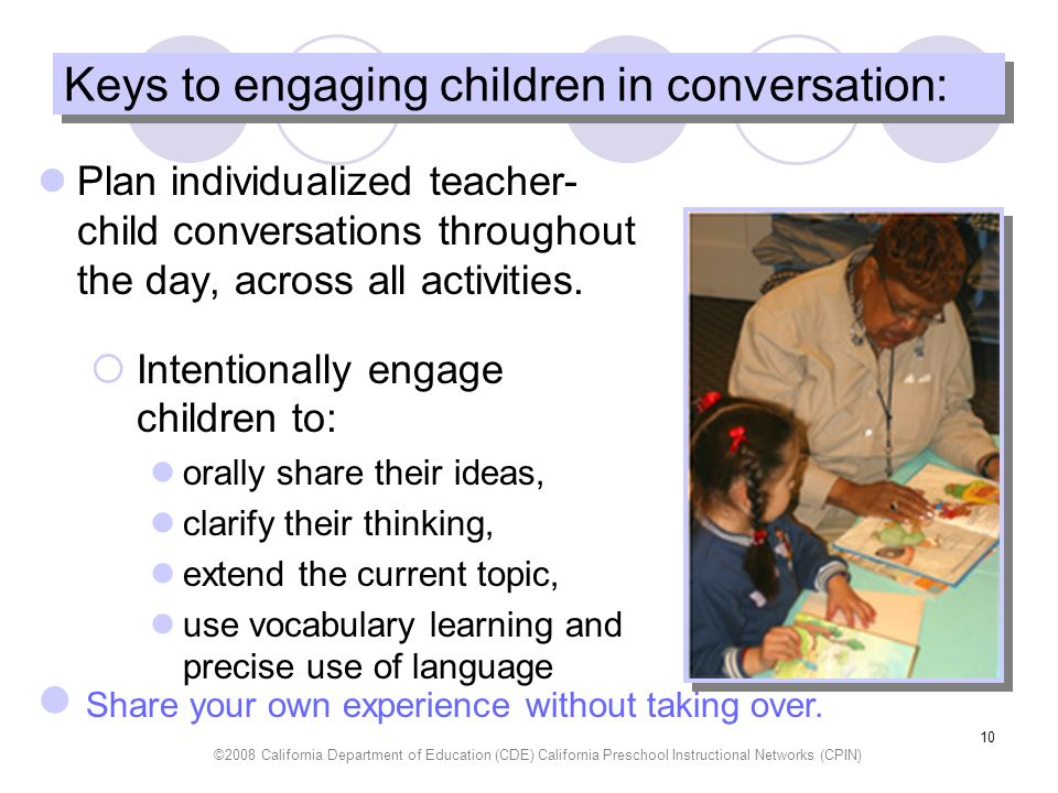 Keys to engaging children in conversation:
