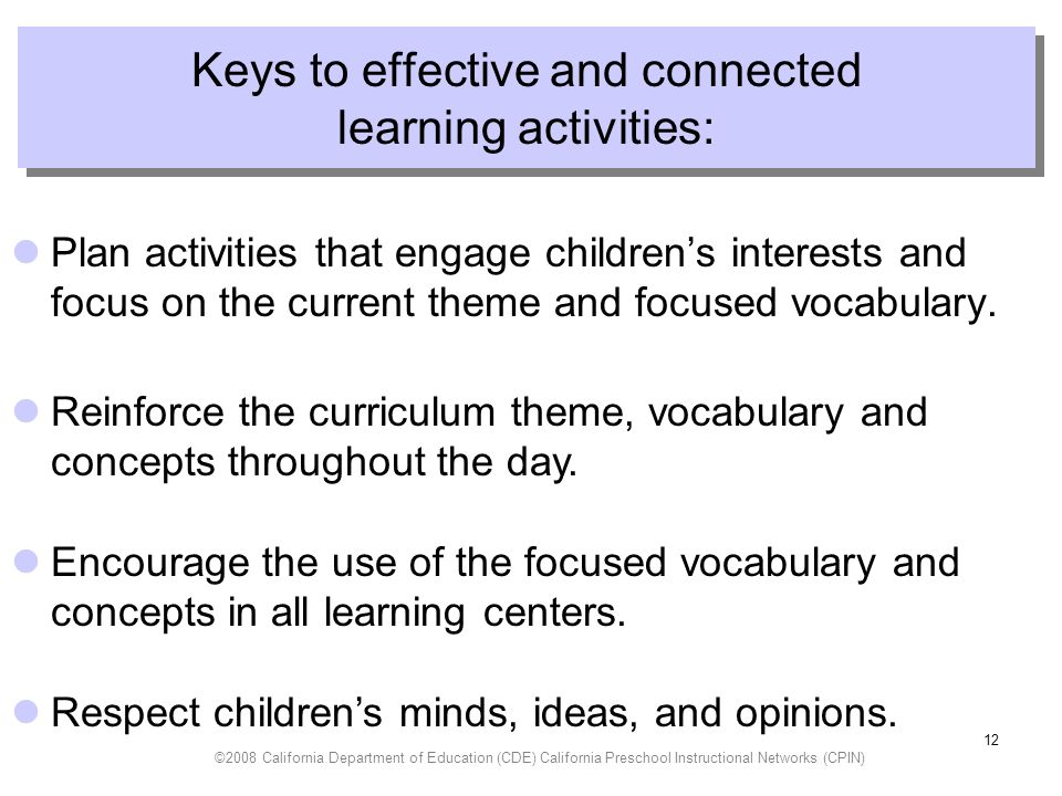 Keys to effective and connected learning activities: