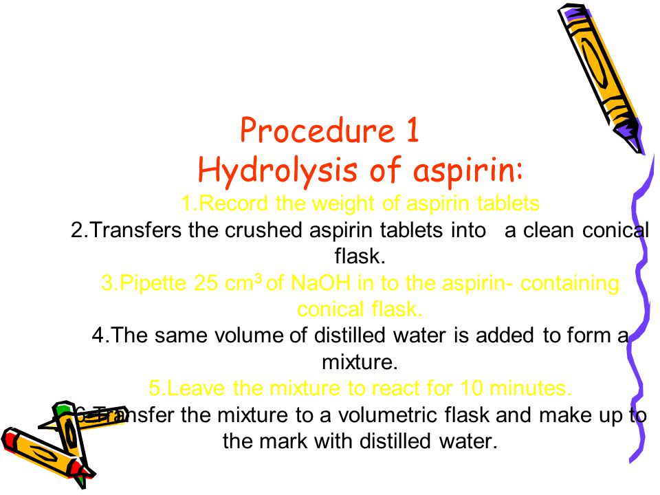 back titration of aspirin 2014-4-3  titration part i introduction  titration is the process of the gradual addition of a solution of known  in the back of.