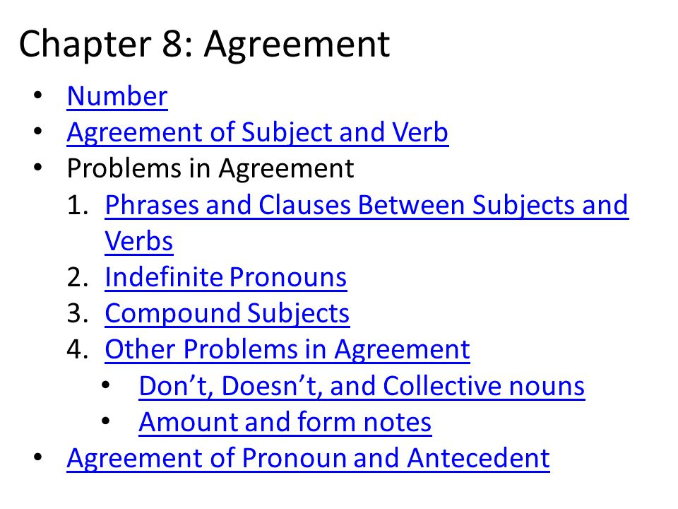 Chapter 8 Agreement Number Agreement Of Subject And Verb