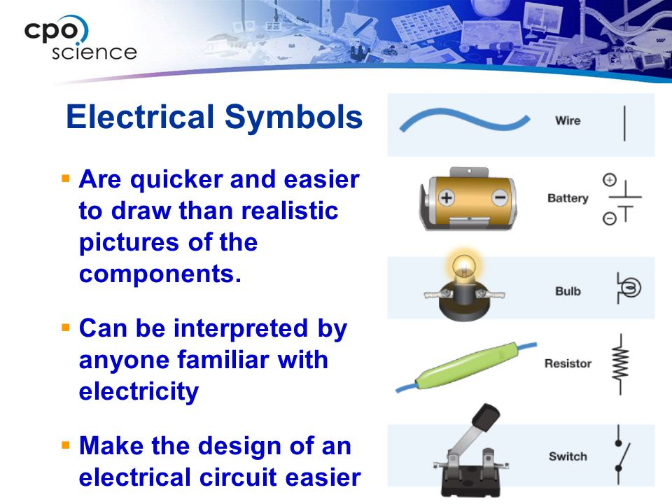 Electrical Symbols Are quicker and easier to draw than realistic pictures of the components.