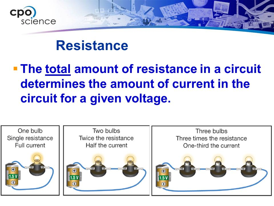Resistance The total amount of resistance in a circuit determines the amount of current in the circuit for a given voltage.