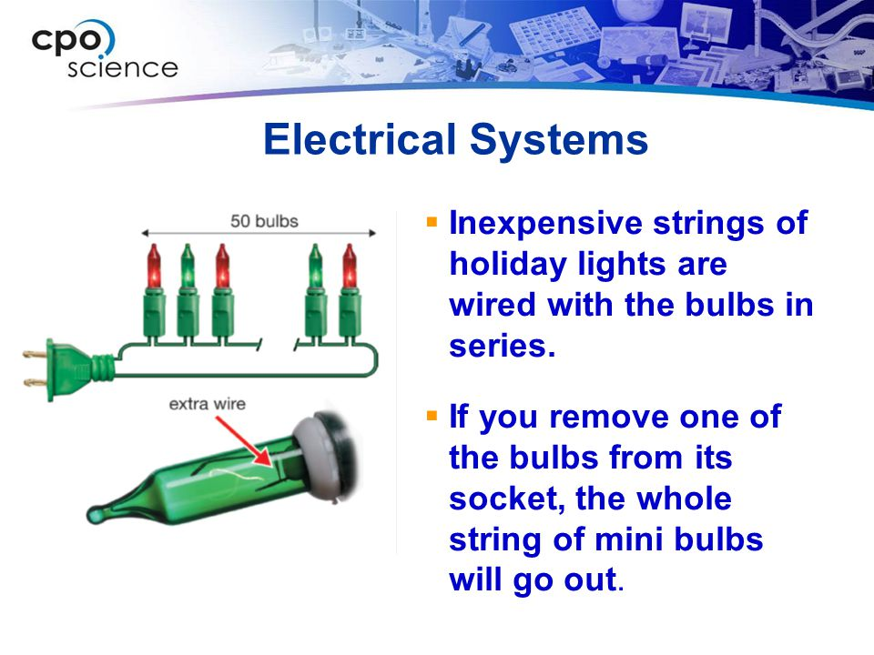 Electrical Systems Inexpensive strings of holiday lights are wired with the bulbs in series.