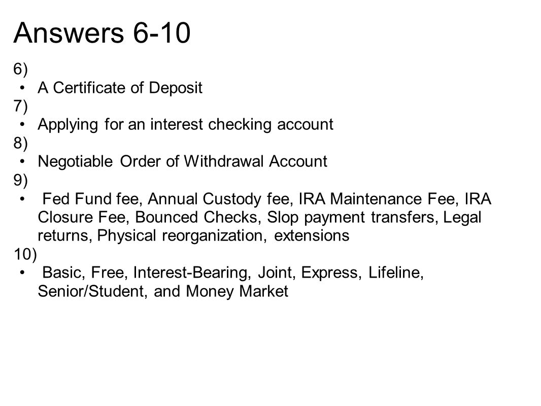 Checking savings cds ppt download answers 6 10 6 a certificate of deposit 7 xflitez Choice Image