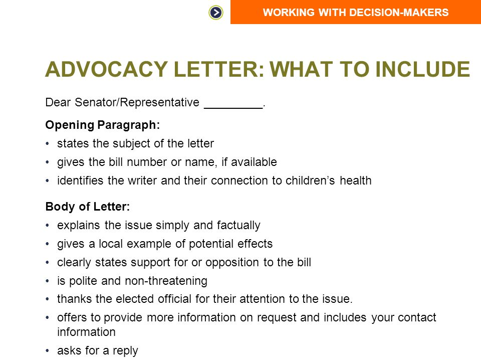 Working with decision makers ppt video online download for Advocacy letter template