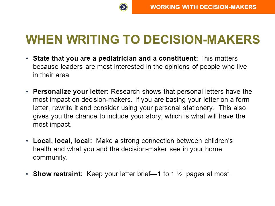 When Writing to Decision-Makers