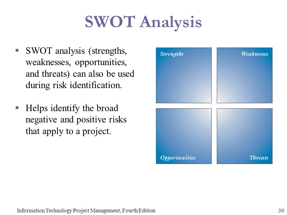 information technology management swot Swot analysis is the most renowned tool for audit and analysis production & operations management management information industry/government and technology.