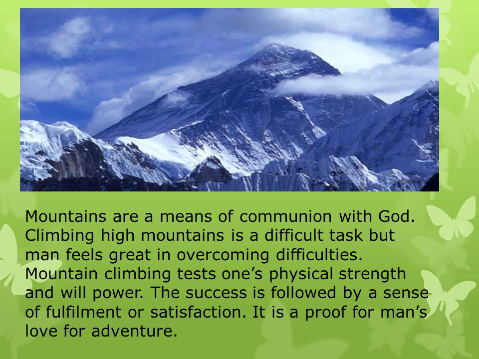 Essay mountains means communion god