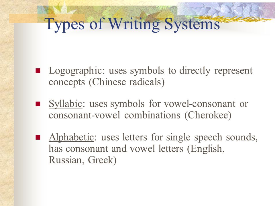types of writing systems The phoenetic writing systems of the greeks, and later the romans, came from   and 3000 bc the consistent use of this type of phonetic writing only becomes.