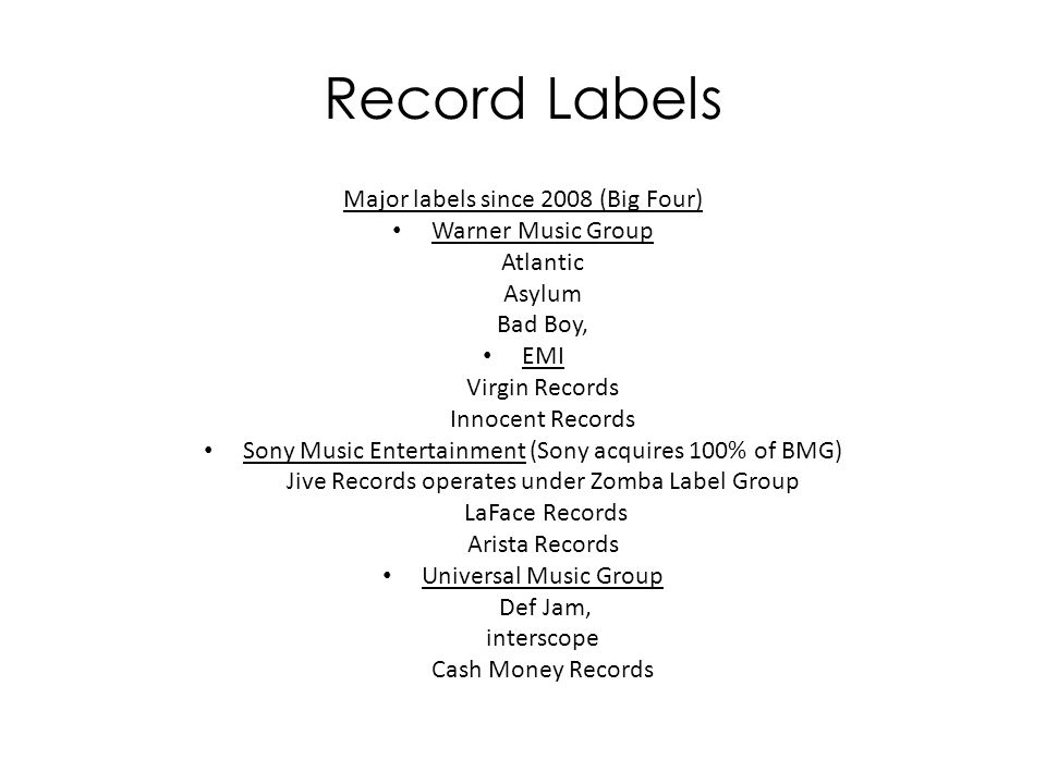 The negative side of major record labels