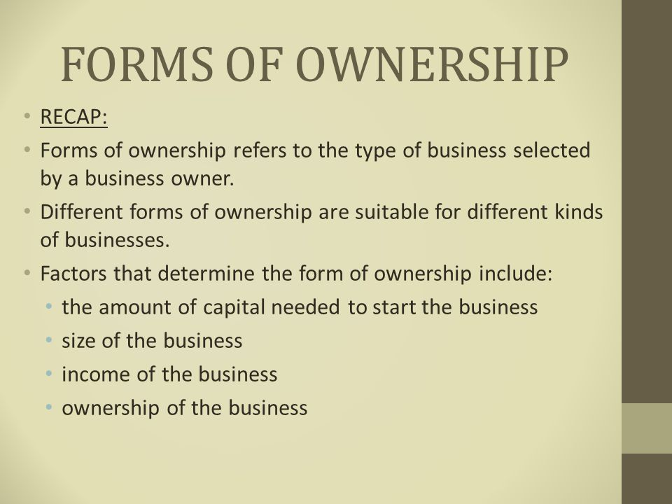 different forms of ownership Defining the 3 types of investments the risks and returns vary widely between the different types of bonds there are three types of investments: ownership.