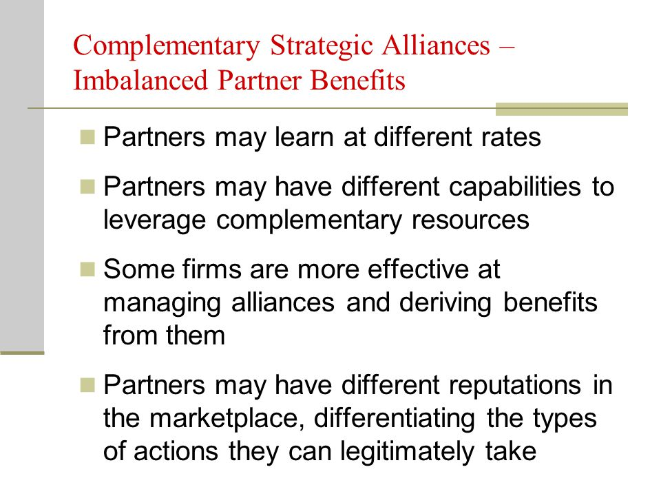 """strategic alliance partners This author outlines the five factors that make an alliance """"strategic""""  while  these partnerships may contribute value to the firm, not all alliances are in fact."""