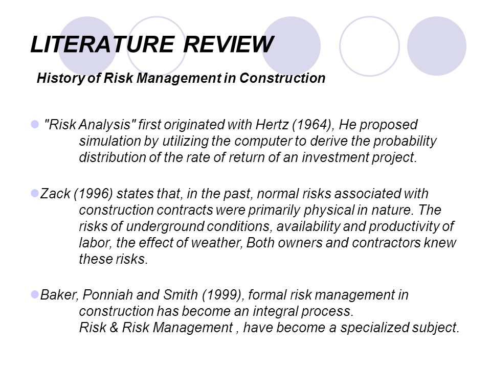 review of the literature on risk management Enterprise risk management: review, critique, and research directions  permalink  erm in the practitioner and academic literature.