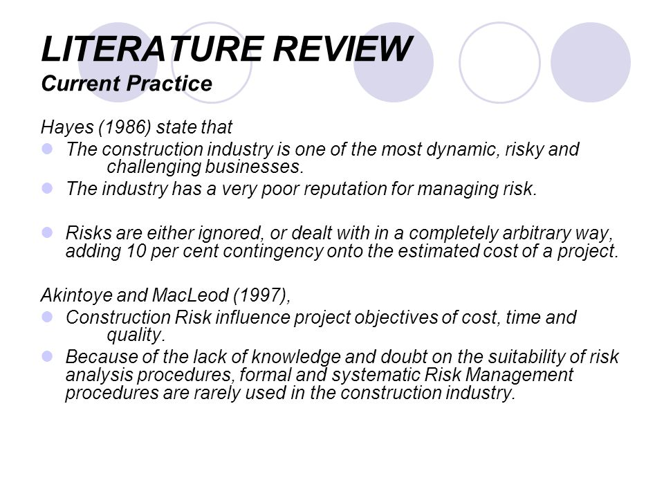 Cost management literature review