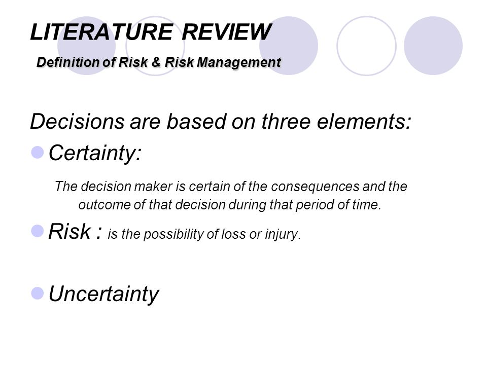 review of the literature on risk management This is part of the initial study on credit risk management and its effect in financial performance of universal unibanks by marylet6ilagan.