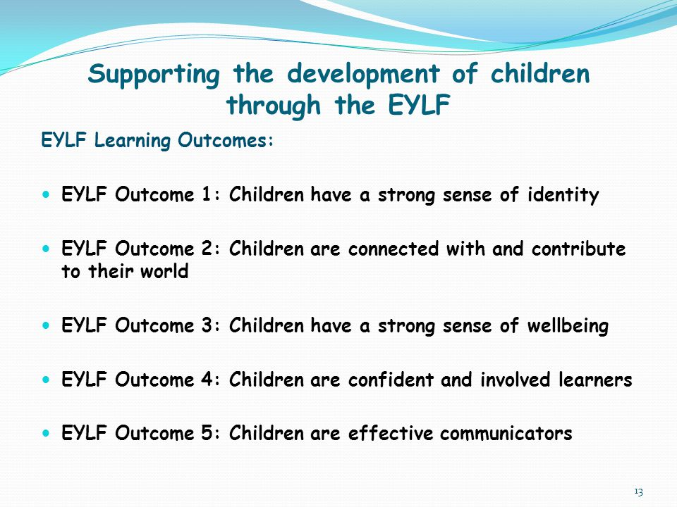 Supporting the development of children through the EYLF