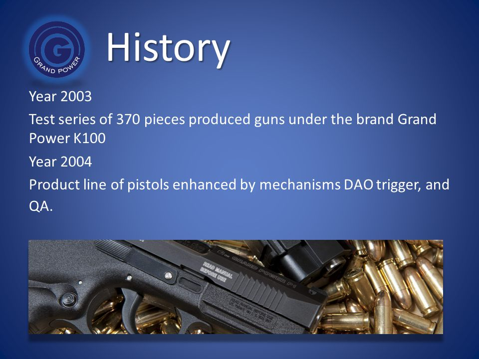 History Year 2003. Test series of 370 pieces produced guns under the brand Grand Power K100. Year 2004.